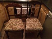2 Antique chairs. Lovely carved wood design