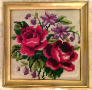Floral Needlepoint in Square Gold Frame
