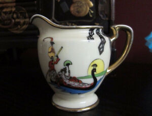 NORITAKE M Art Deco LADY In SWAN BOAT MILK JUG Hand Painted RARE