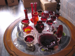 Sale Large Collection of Vintage Ruby Red Glass