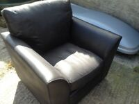 One and two seater sofa in black leather