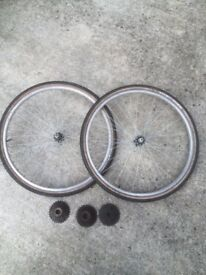 "PAIR 26"" WHEELS - CHOICE OF 5,6 OR 7 SPEED COGS"