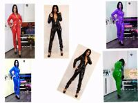 PVC CATSUIT Jumpsuit Black White Red Blue Yellow 6-16 UK New With Tags