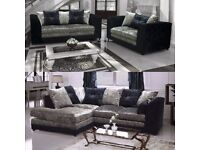 NEW CRUSHED VELVET 3+2 OR CORNER SOFA BLACK OR BLACK/SILVER