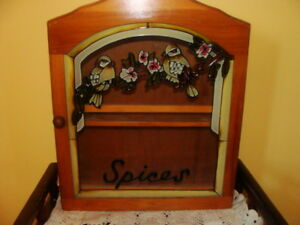 tràs beau armoire mural à épices, porte vitrée, en bois