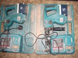 2 x Makita BHR200 drills chargers batteries and boxes