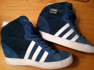 Adidas teal suede high heels, high top. Size 7.5