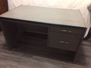 Desk with two drawers, chalk painted in grey & distressed