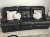 Good condition 2 black leather sofas
