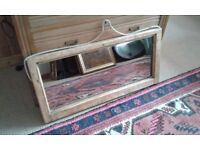 VINTAGE SASH WINDOW MADE INTO A MIRROR ROPE HANGING CORD SOUND SOLID COUNTRY CHIC LOOK PINE