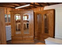 Windsor Pine Double Wardrobe with Mirrors