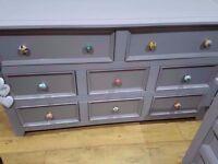 SOLID WOOD SIDEBOARD LARGE SPACIOUS 2 CHEST DRAWER-LOTS OF STORAGE TV UNIT LAMP TABLE