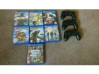 PS4 3controllers and games