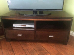 Espresso wood TV stand with deep drawers