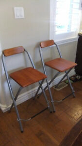 2 ikea bar stools in exc cond, sturdy wooden seat and back rest
