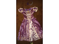 GIRLS age 5 - 6 tangled dress and crown disney good condition