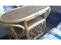 Cane table and 2 chairs