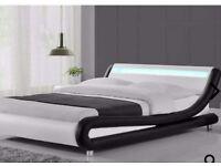 LED faux leather kingsize bed