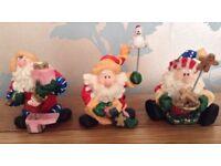 Christmas in July 3 Cute Santa Ornaments