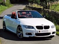 ★ALPINE WHITE★ BMW 320D M SPORT CONVERTIBLE E93 ★ RED LEATHER ★ 6 MONTHS WARRANTY ★ HUGE SPEC