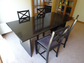 Black finish wood dining table and six dining chairs