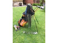 Quality, used nearly good as new left handed golf clubs and bag