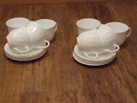 8 CUPS AND SAUCERS - NEW - WHITE