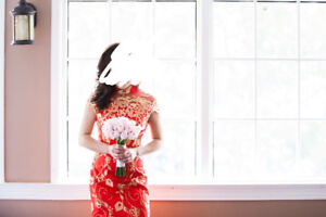 Chinese Red Dress with fishtail design