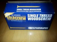 Woodscrews Double Countersunk 4mm diameter x 40mm long Goldscrew PLUS (Large Box of 1000)