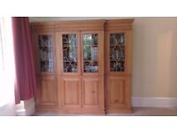 Large Freestanding Pine Bookcase/Cupboard Unit