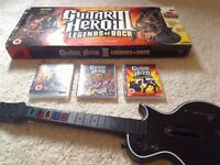 X Box 360 Guitar Hero plus 3 games, mint condition hardly used.