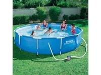 BESTWAY 12FT STEEL PRO FRAME SWIMMING POOL W/ FILTER + ADDITIONAL CHEMICALS