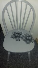 Hippy/shabby grey wooden chair