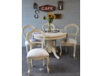 Shabby Chic Solid Wood Round Dining Table & 4 French Style Chairs Laura Ashley Josette Fabric