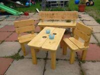 Handmade wooden children's furniture set