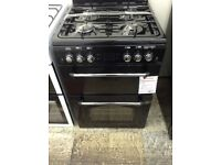 Black leisure gas cooker. Double oven. 4 ring hob. 12 month gtee