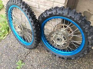 Yz250 blue anodized wheels with tires