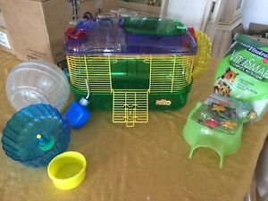 Hamster cage and accessories, chews and treats