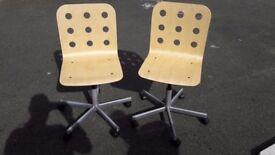 2 swivel wooden desk chairs