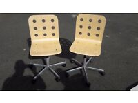 2 swivel wooden desk chairs
