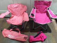 Kids pink camping folding chairs n carry bags £5 ec