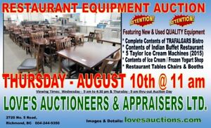 HUGE RESTAURANT FOOD EQUIPMENT AUCTION - THURS. AUGUST 10th @ 11