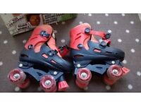 Roller Boots Quad Skates adjustable size childrens 13-3 Zinc black/orange with box and instructions