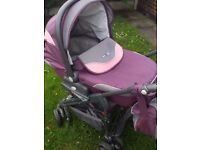 Baby pram, with carrycot , toddler seat