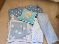 Baby boy blankets and pillow