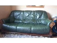 Green Leather Sofa with Solid Wooden Base