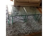 Coffee Tables, glass, nest of 3
