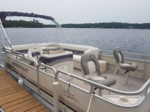 2003 smoker craft pontoon boat and trailer
