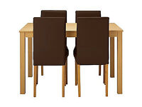 New Elmdon Oak Stain Dining Table & 4 Chocolate Chairs.