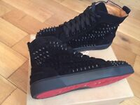 Christian Louboutin Black Suede High Top Trainers Loubs Red Bottoms Shoes With Box & Dustbag